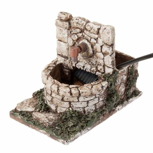 Nativity set accessory, water fountain with pump, resin 13X8X10 s1