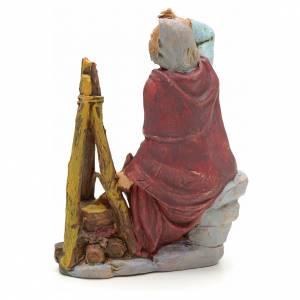 Nativity set figurine, shepherd sitting next to fire 13cm s2