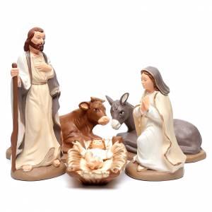 Terracotta Nativity Scene figurines from Deruta: Nativity set in painted clay 5 figurines 40cm, elegant style