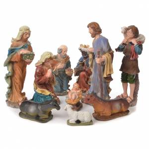 Resin and Fabric nativity scene sets: Nativity set in resin, 10 figurines measuring 44cm