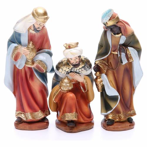 Nativity set in resin, 11 figurines measuring 19.5cm s3