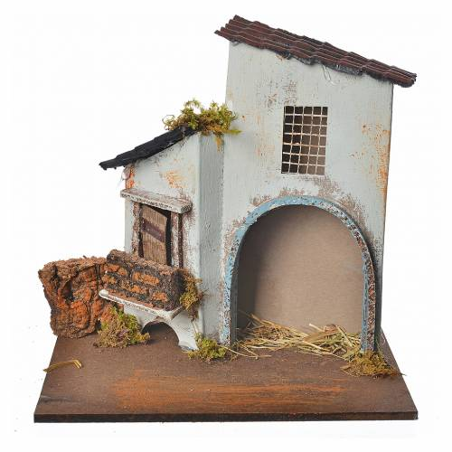 Nativity setting, blue farmhouse with arch 20x12x19cm s1