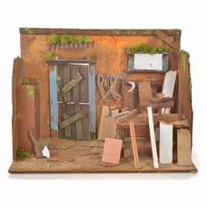 Nativity setting, carpenter's workshop 33x18x25cm s1