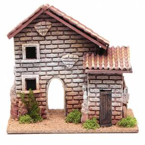Settings, houses, workshops, wells: Nativity setting, double house measuring 20x23x14cm