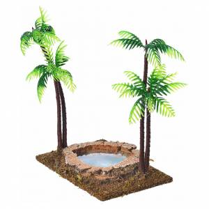 Nativity setting, double palm tree with lake, 15cm s2