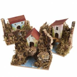 Settings, houses, workshops, wells: Nativity setting, house in wood on river, assorted models