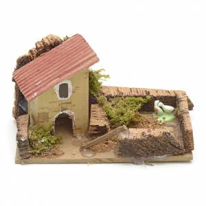 Nativity setting, house with fence  10x6cm s1
