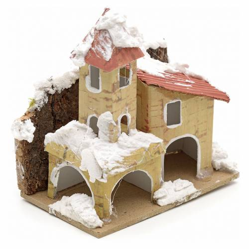 Nativity setting, houses covered with snow 10x6cm s2