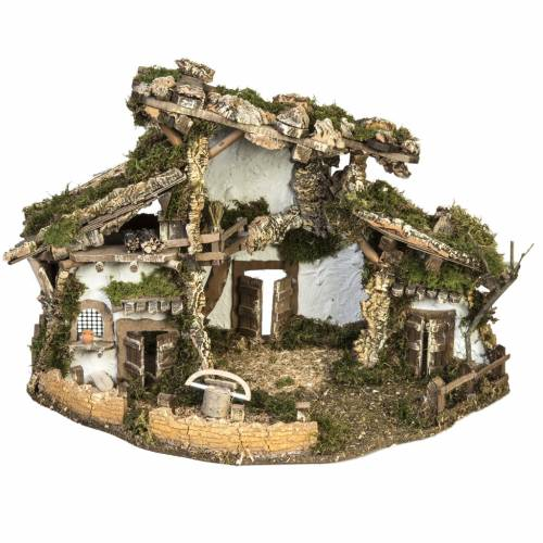 Nativity setting, refuge stable with accessories 40x58x38cm s1