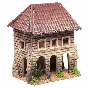 Nativity setting, rustic house measuring 23x20x13cm s3