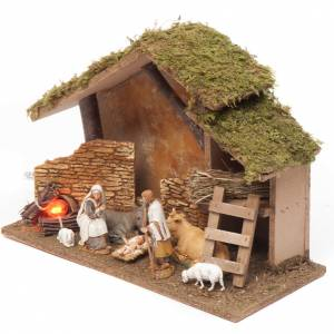 Nativity setting, stable with fire 26x36x16cm s2