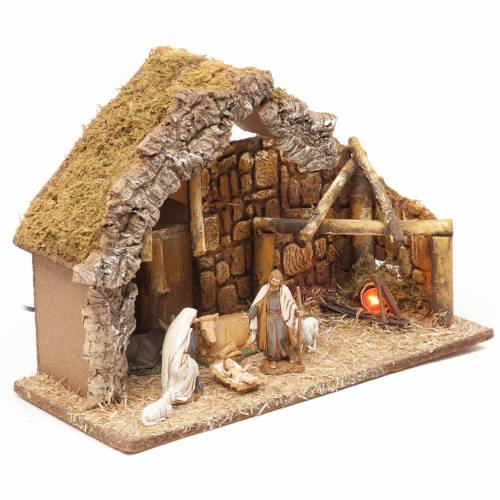 Nativity setting, stable with fire 28x42x18cm s3