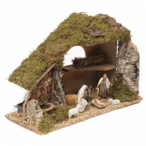 Nativity setting, stable with fountain and barn 28x42x18cm s2