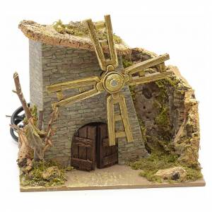 Nativity setting, wind mill with dry tree 14x15x11cm s1