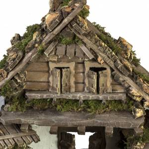 Stables and grottos: Nativity stable, refuge style with fountain 56x48x38cm