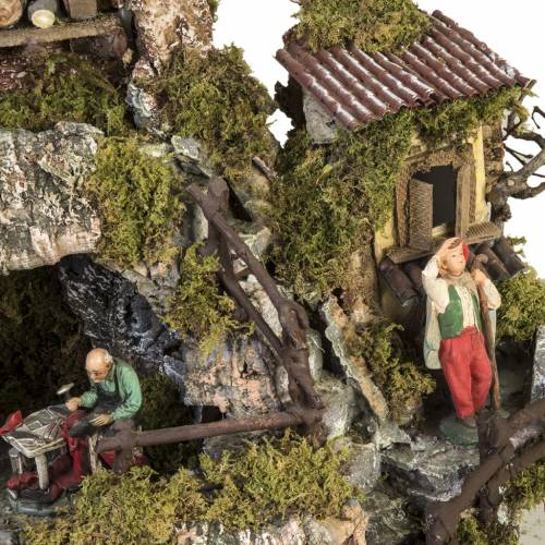 Nativity village Neapolitan style with stable, lights and fire s6