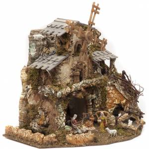Nativity village with lights, grotto, mill 50x58x38cm s2