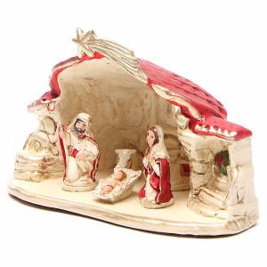 Nativity with shed terracotta red 15x20x11cm s2