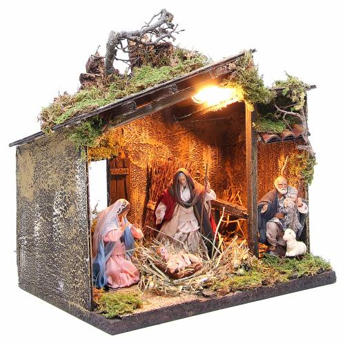 Nativity with shepherd and setting measuring 10cm for Neapolitan Nativity s3