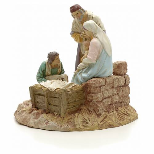 Nativity with shepherd on base, painted resin 16 cm STOCK s2