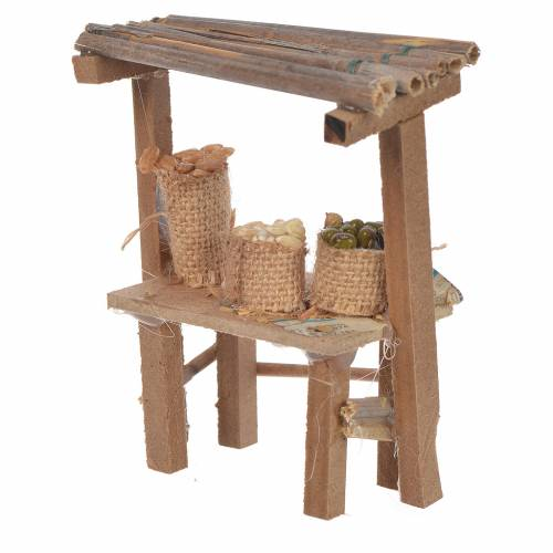 Nativity wooden stall cereal and olives in wax, 9x10x4.5cm s2
