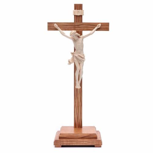 Natural wax table crucifix, Corpus model in Valgardena wood s1