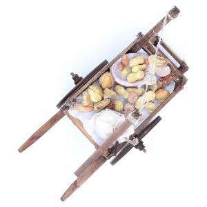 Neapolitan Nativity accessory, bread and cheese cart, terracotta s7