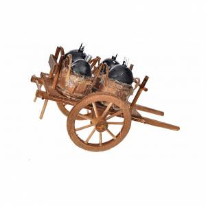 Neapolitan Nativity accessory, cart with demijohns 8x12x7.5cm s2