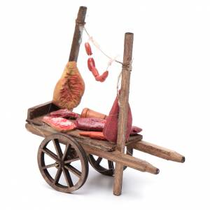 Neapolitan Nativity accessory, cart with meat and sausages 11x11 s2
