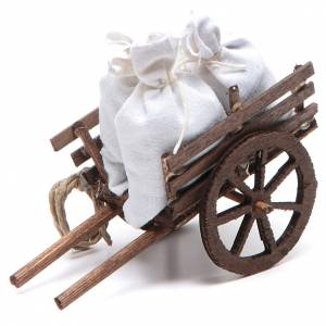 Neapolitan Nativity Scene: Neapolitan Nativity accessory: cart with sacks measuring 7x10x4cm