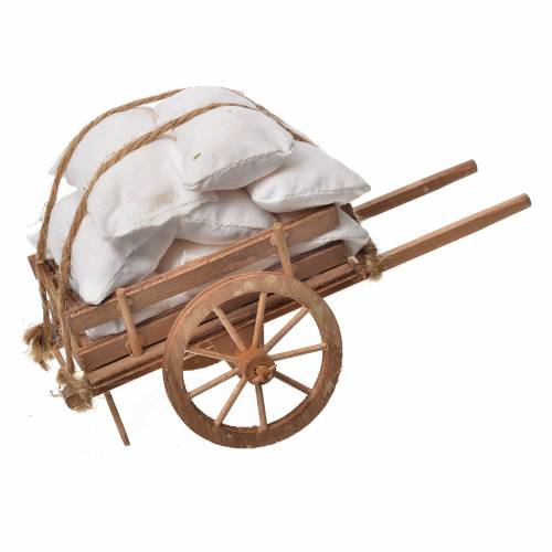 Neapolitan Nativity accessory, cloth cart in wood s1