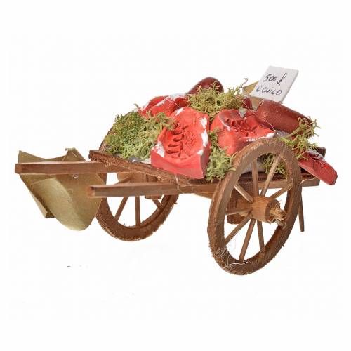 Neapolitan Nativity accessory, meat cart in wood and terracotta s2