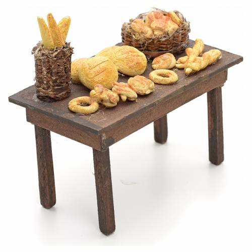 Neapolitan nativity accessory, table with bread basket 14cm s2