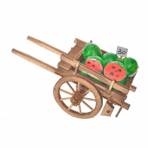 Neapolitan Nativity accessory, watermelon cart 8x12x7cm s1