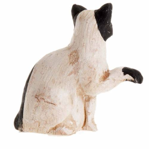 Neapolitan Nativity figurine, Black and white cat 14cm 2