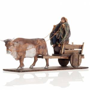 Neapolitan Nativity figurine, Man with cart and ox 8cm s1