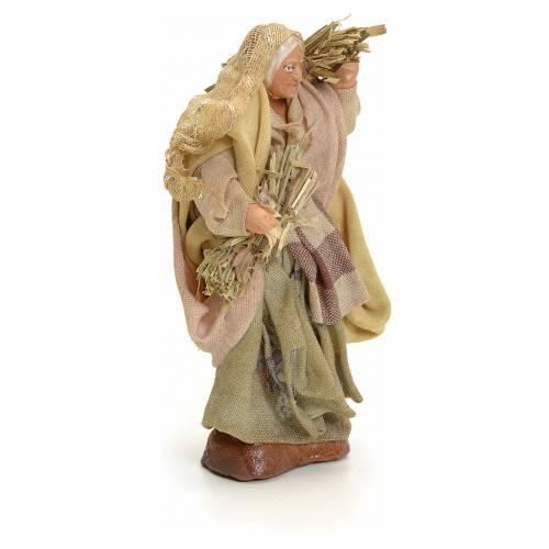 Neapolitan Nativity figurine, old woman with hay, 8 cm s2