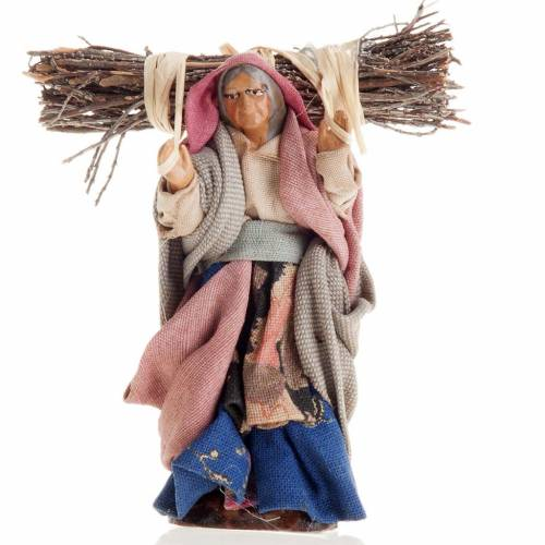 Neapolitan Nativity figurine, Old woman with wood bundle 8cm s1