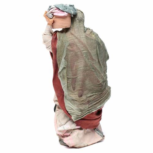 Neapolitan Nativity figurine, woman with basket of cloth s4