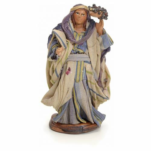 Neapolitan Nativity figurine, woman with bunches of grapes, 8 cm s1