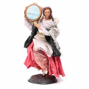 Neapolitan nativity figurine, woman with tambourine 18cm s1
