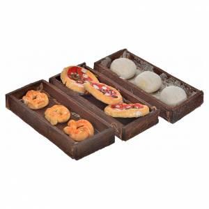 Neapolitan Nativity scene accessory, bread, pizza boxes 3 pieces s1