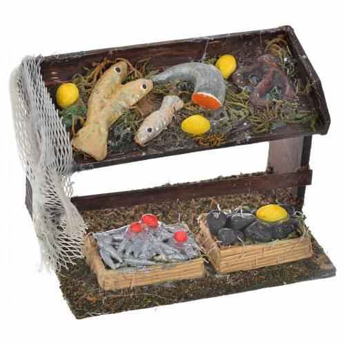 Neapolitan Nativity scene accessory, fish stall with net s1