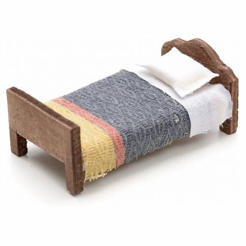 Neapolitan Nativity scene accessory, small bed, 8 cm s2