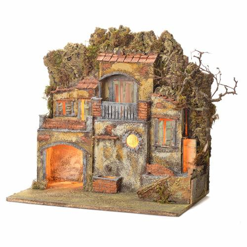 Neapolitan Nativity village with fountain 55x50x35, for 10cm s3
