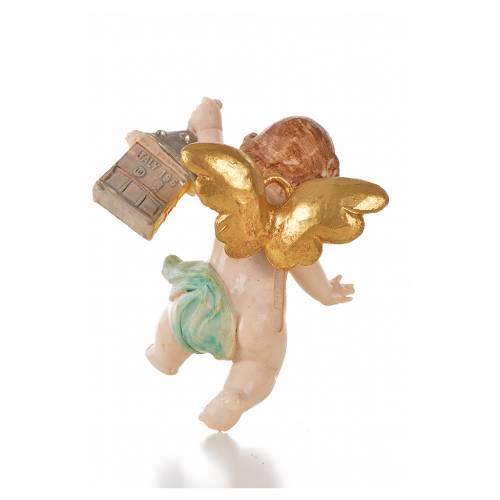 Ángel con quinqué azul Fontanini 7 cm. símil porcelana s2