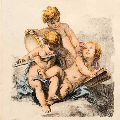 Ángeles pintados sobre nube estampa florentina s4