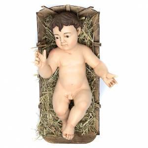Estatuas del Niño Jesús: Niño Jesús altura real 35 cm mano alzada terracota ojos vidrio
