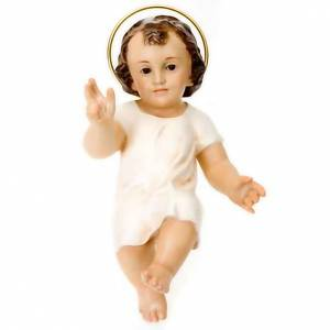 Estatuas del Niño Jesús: Niño Jesús vestido blanco bendecidor madera 25 cm