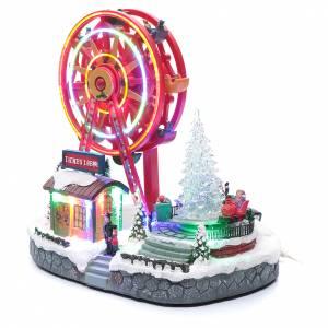 Pueblos navideños en miniatura: Noria navideña iluminada